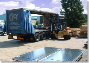 Loading Small lorry on forecourt
